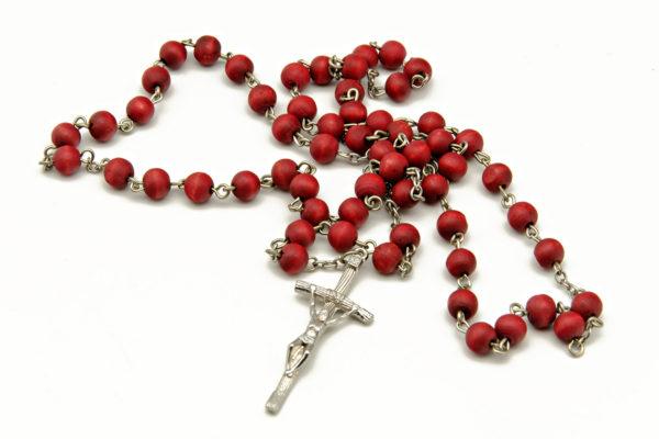 Catholic rosary for pray on white background