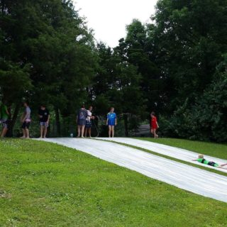 After VBS was finished with the Slip n Slide, The Crew got to use it for one of our Team Time meetings. Thanks VBS leaders for letting the high school students enjoy the slip n slide also.