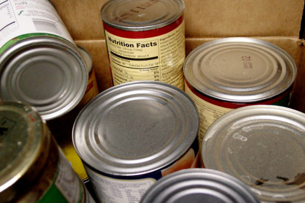 canned goods in a cardboard box (noise at full size, best smaller)