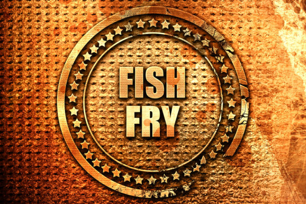 fish fry, 3D rendering, text on metal